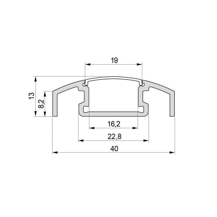 LED-Leuchte LD8003A Querschnittszeichnung