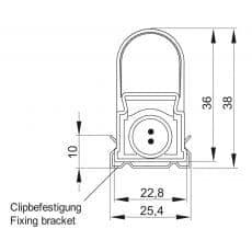 LED-Leuchte LD8021 Querschnittszeichnung mit Halteklammer